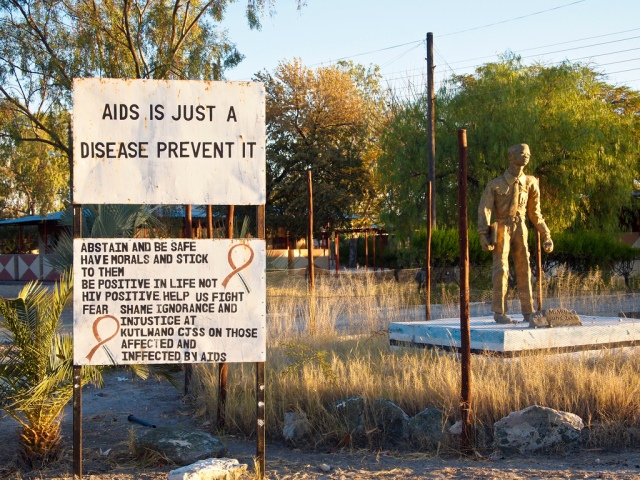 HIV/AIDS sign inside a school in Gweta